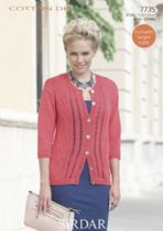 Sirdar Cotton DK Knitting Pattern - 7735 Cardigan